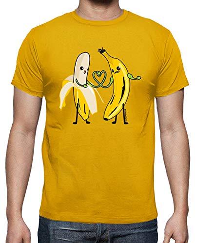 latostadora - Camiseta Pltanos Enamorados para Hombre Amarillo Mostaza