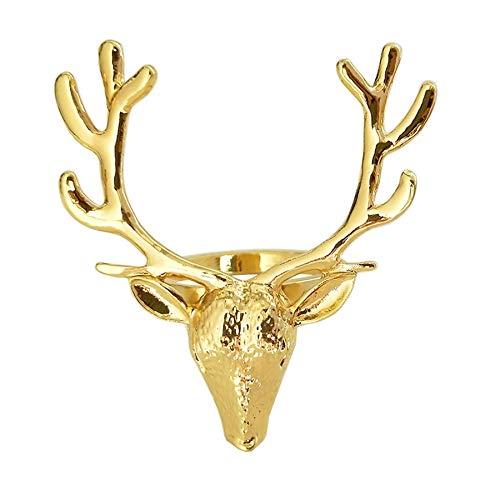 wivarra 6 StüCke Gold Hirsch Kopf Servietten Schnalle Weihnachten Hirsch Servietten Ring Hotel Dekoration Stoff Schnalle Metall Servietten Ring