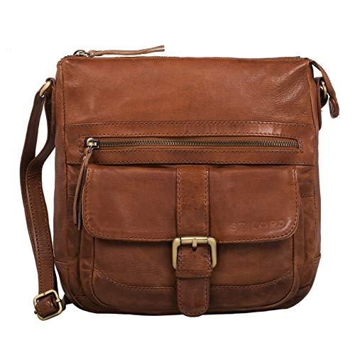 STILORD 'Louise' Vintage Umhängetasche Damen Leder klein Messenger Bag Tablet-Tasche für 9.7 Zoll iPad Schultertasche DIN A5 Handtasche aus echtem Rindsleder, Farbe:Ocker - braun