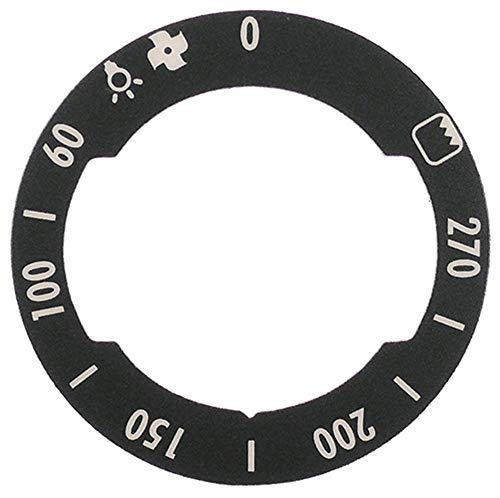 MBM-pictogram voor oven buiten 62 mm links draaihoek 270 ° grijs, binnen 42 mm max. Temperatuur 270 °C symbool oven