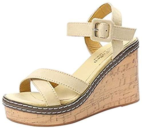 Chaussures à Talons Femme Sandales, Tongs Chaussures Compensées de Plage Mules Chausson Traversé Été Mode Loisirs Poisson Bouche Pantoufles ELECTRI (38, Blanc)