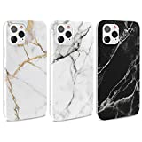 MUSESHOP 3X Funda iPhone 12 Pro 6.1'' Carcasa Mármol Gel Mate Case Ultra Delgado TPU Goma Cover Protectora para iPhone 12 /iPhone 12 Pro 6.1' - (Negro, Gris Blanco, Gris púrpura)
