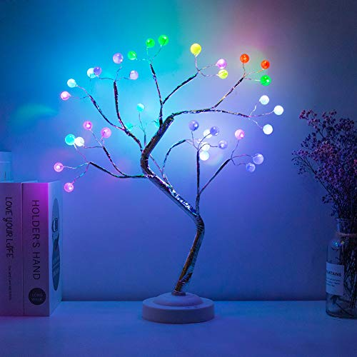 esLife 20 Inch RGB Bonsai Tree Lamp, DIY Standing Lamp With Remote Control and Timer, USB/BATTERY Operated Corner Lamp,christmas Fairy Light Tree For Bedroom Party Living Room Decoration