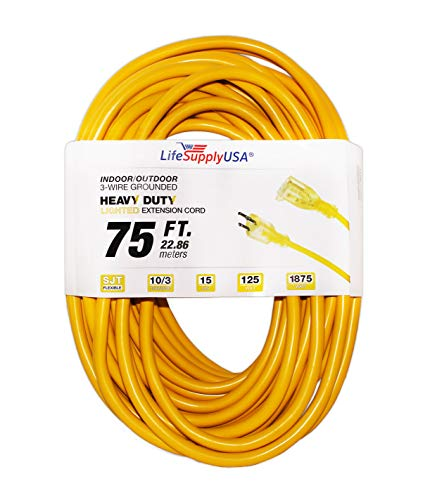 LifeSupplyUSA 10/3 50ft SJTW Lighted End Extension Cord, 15 Amp, 125 Volt, 1875 Watt, Super Heavy...
