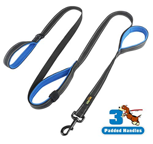 Idepet Dog Leash 3 Handles 6ft Traffic Padded - Pet Training Walking Lead Heavy Duty Reflective Leash for Large,Medium and Small Dogs (Blue)