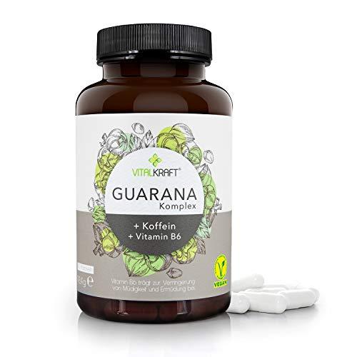 VITALKRAFT Guarana-Komplex / 120 hochdosierte vegane Kapseln mit 470mg Guarana, 150mg Koffein und Vitamin B6 / Veganer Energy-Booster gegen Müdigkeit