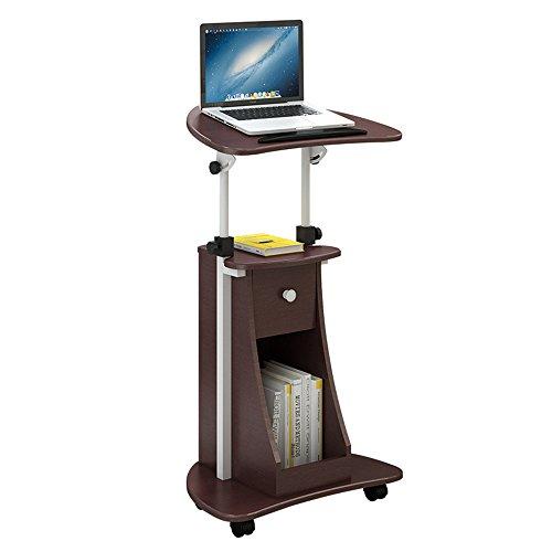 FEI Siège mobile réglable de bureau d'ordinateur portable de support de taille réglable de Sit-to-Stand avec le bureau de stockage 4 couleurs (Couleur : Chocolat Couleur)