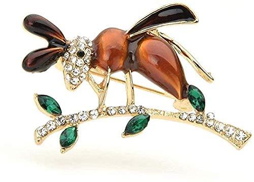 FOPUYTQABG Broche exquisito broche de esmalte de estrás, abeja, exquisito broche de aleación para mujer, hormigas en el árbol, Insectos, fiesta para el tiempo libre, exquisito broche de regalo