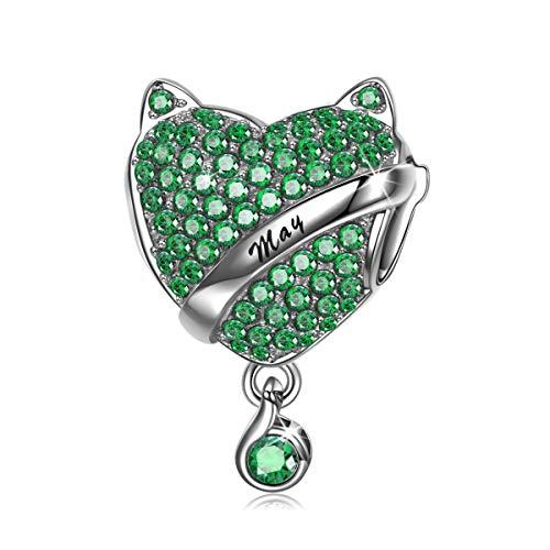 NINAQUEEN Charm Encaja con Pandora Regalos Mujer Originales Verde Piedra de Nacimiento Mayo Esmeralda Plata de Ley 925 Zirconia Abalorios para Niñas Madre Hija Esposa de Cumpleaños
