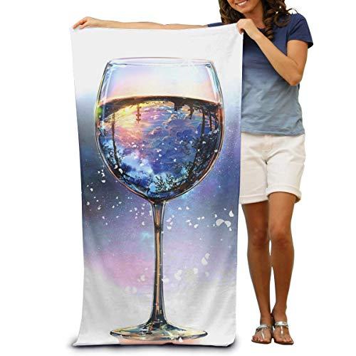 Mengghy Toallas de playa 100% algodón, 80 x 130 cm, toalla de secado rápido para nadadores, copas de vino, manta de playa