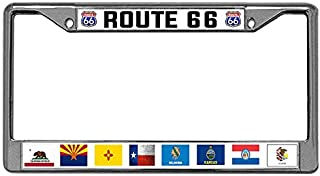 Toanovelty US Route 66 Metal Auto License Plate Frame Mother Road Stainless Steel License Frame car