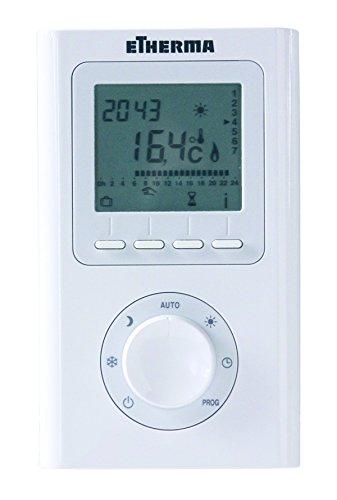 Etherma 35890 ET-12A Funk-Raumtemperaturregler, LCD-Anzeige mit Uhr und Wochenprogramm