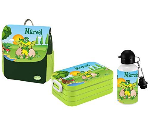 Mein Zwergenland Set 3 Kindergartenrucksack mit Brotdose Maxi und Flasche Happy Knirps NEXT Print mit Name Dino, 3-teilig, Grün