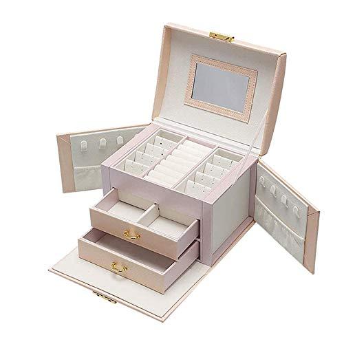 NFRADFM Caja de joyería, caja de almacenamiento de gran capacidad, joyería de cuero de la PU, pendientes collar caja de almacenamiento de la joyería, caja de joyería portátil