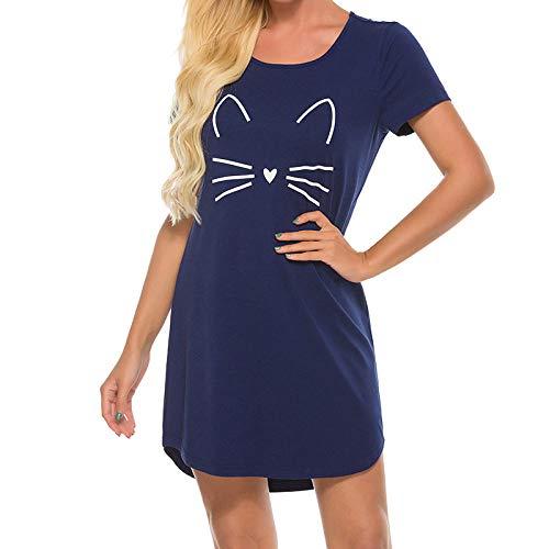 Kurzarm Nachthemden Für Frauen,Nachthemd Für Damen Baumwolle O-Ausschnitt Loose Fit Design Marineblau Mit Weißer Katze Kurzarm Nachthemd Damen Sommer Nachtwäsche Weiche Bequeme Nachthemden Läss