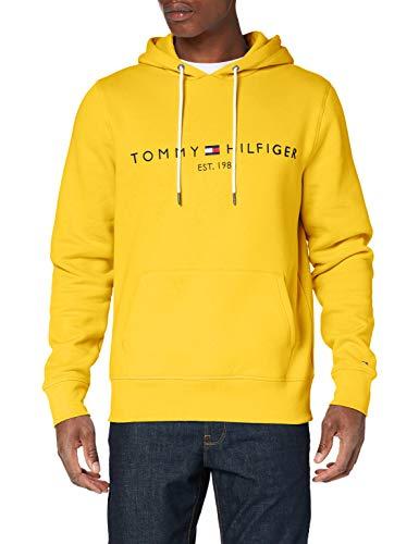Tommy Hilfiger H Sudadera con Capucha, Cordón, Logo y Bolsillo Canguro, Yellow, XL Hombre