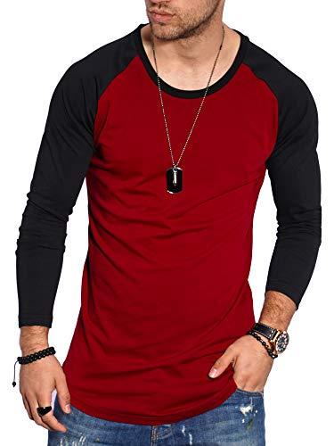 behype. Herren Oversize Longsleeve Langarm T-Shirt O-Neck Rundhals Ausschnitt 30-3752 Weinrot-Schwarz S