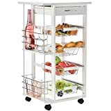 HOMCOM Multi-Use Kitchen Cart Trolley w/ 4 Baskets 2 Side Racks Drawer Worktop 4 Wheels Island Home Kitchen Food Storage Spice Vegetables Fruits Smooth Rolling Compact Furniture White
