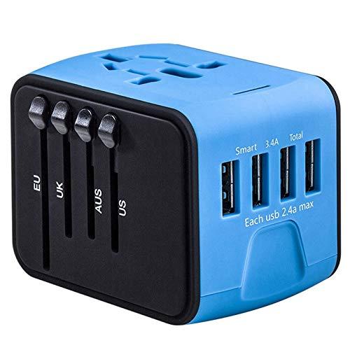 Gaetooely Adaptador de Corriente Universal para Viajes Internacionales Adaptadores de Enchufes de Salida de CA en Todo el Mundo Enchufe de Viaje PortáTil Azul