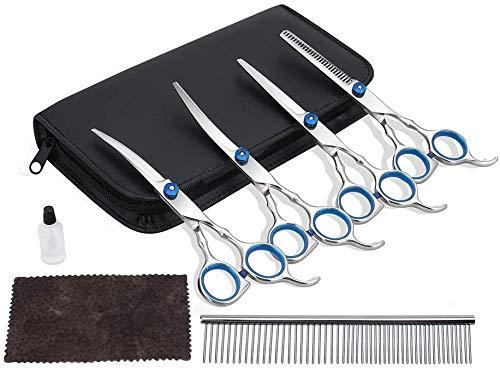 HomdMarket Tijeras de peluquería para perros, tijeras de acero inoxidable para perro para todo el cuerpo, cara, nariz, oreja y pata, 5 piezas de plata