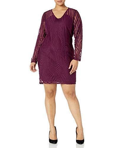 Rebel Wilson X Angels Women's Plus Size Embroidered Mesh Dress, Winter Bloom, 20W