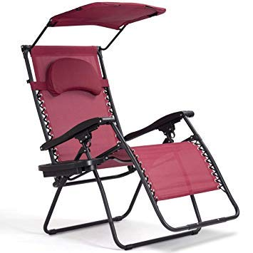 Heize best price Wine Color Garden Outdoor Home Recliner Lounge Chair with Shade Canopy Cup Holder Outdoor Relax Chaise Lounge Beach Chair Bed Camping Cot Outdoor Portable Hiking(U.S. Stock)