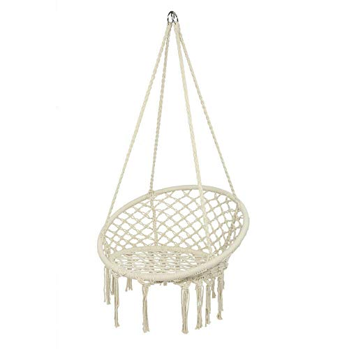 BAOLIANG Hammock Chair Chair Swing with Fringe Tassels Cotton Rope Hanging Chair for Comfort and Relaxation Indoor, Outdoor, Bedroom, Deck, Patio, Yard, Garden
