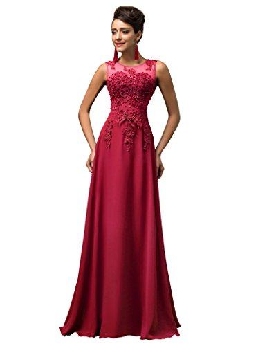 Lange Damen Abendkleider Ballkleider Partykleider Ärmellos Chiffon Kleid für Hochzeit Brautjungfer- Gr. 38, Cl7555-5