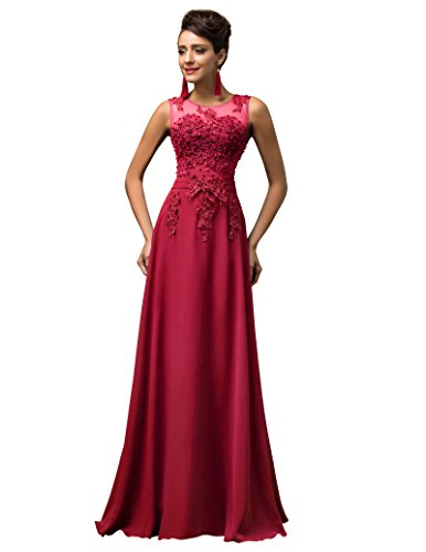 Grace Karin Women V-Back Beads Long Gown Evening Prom Dress,Dark Red,18 Plus