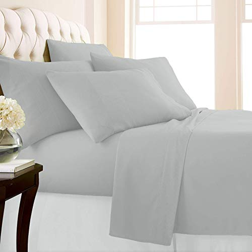 Marina Shades 100% Egyptian Cotton King Size Silver Grey 4 Piece Sheet Set 1000 Thread Count Soft Elastic Breathable Fade Resistant Hotel Quality Luxury Bedding Fits Up to 18 Inch Extra Deep Pocket