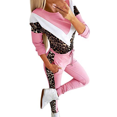 kunfang Tuta Donna Casual Stampa Leopardata Sport Palestra Manica Lunga Outwear Set Pantaloni Top Pantaloni Pantaloni Due Pezzi Tuta da Ginnastica Abbigliamento