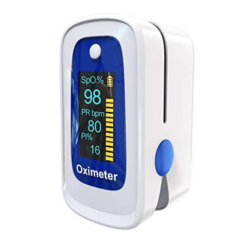 Saturimetro Da Dito MOMMED,Pulsossimetro,Pulsossimetro da Dito con allarme | Letture accurate SpO2, indice di perfusione, ossigeno nel sangue, frequenza del polso