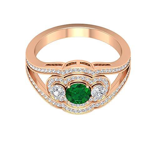 Anillo de esmeralda solitario de 5,00 mm, halo de diamante HI-SI con piedras laterales, anillo de compromiso con vástago dividido (calidad AAA), 14K Oro rosa, Size:EU 49