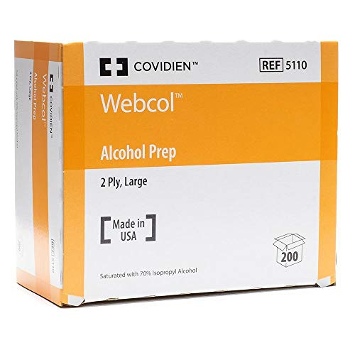 Covidien 5110 Webcol Alcohol Prep, 2-Ply, Large (Pack of 200)
