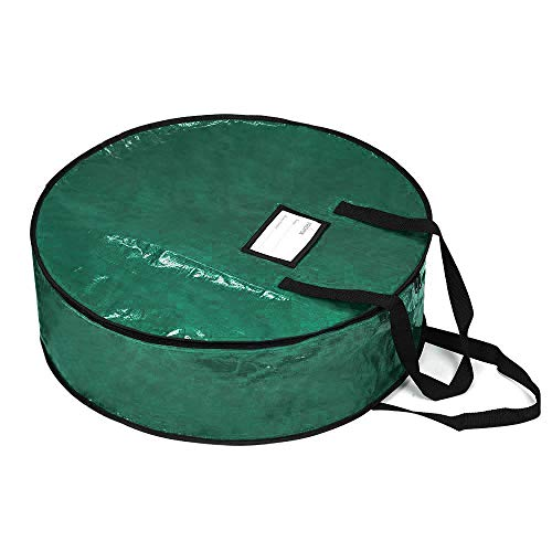 "ProPik Xmas Wreath Storage Bag 30' - Garland Holiday Container with Tear Resistant Fabric - Featuring Heavy Duty Handles and Transparent Card Slot - 30"" X 8"" (Green)"