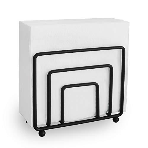 Napkin Holder Freestanding Metal Tabletop Tissue Dispenser for Tables, Dining, Kitchen, Restaurant, Picnic (Black)