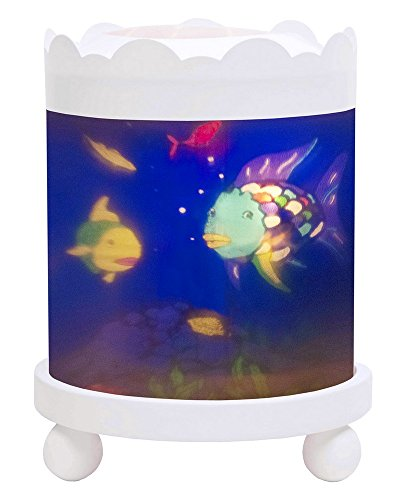 Trousselier - Regenbogenfisch - Nachtlicht - Magisches Karussell - Ideales Geburtsgeschenk - Farbe Holz weiß - animierte Bilder - beruhigendes Licht - 12V 10W Glühbirne inklusive - EU Stecker