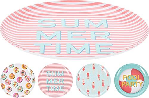 Set 4 platos de melamina, Platos llanos de 28cm de unos 160 grs. 4 diseños variados para fiesta en la piscina.