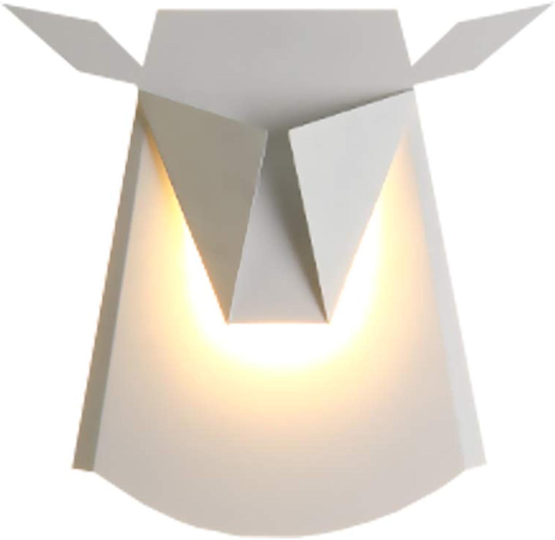 LXFMD Moderne minimalistische wohnzimmer schlafzimmer nachttischlampe lampe kreative persnlichkeit deer kopf flur gang geweih wandleuchte (Farbe   Wei)
