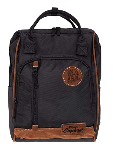 Elephant Rucksack Finn Tasche A4 Daypack Bürorucksack Damen Herren Freizeitrucksack 5072 + Schlüsseletui (Black (Schwarz))