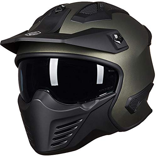 ILM Open Face Motorcycle 3/4 Half Helmet for Moped ATV Cruiser Scooter DOT (Midnight Green, S)