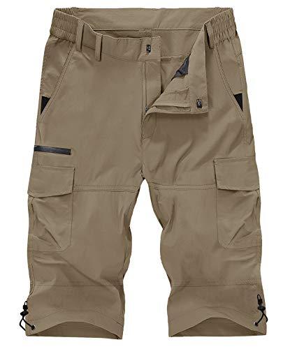 KEFITEVD 半ズボン 撥水 フィッシングパンツ ハーフパンツ 速乾 キャンプウェア 7丈 登山パンツ メンズ アウトドアウェア カーキ L