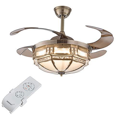 TFCFL Ventilador de techo de 100 cm con iluminación – Moderna lámpara de techo con mando a distancia LED Fan luz con 4 aspas retráctiles Vintage lámpara de araña para salón, cocina, dormitorio