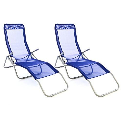 Nexos Gartenliege 2er Set Bäderliege 160 x 48,5 x 100 cm Textilene blau 5kg Armlehne Stahlrahmen Relaxliege klappbar Kippliege bis 100 kg belastbar wetterfest pflegeleicht Farbe wählbar