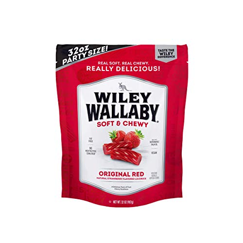 Wiley Wallaby Australian Style Gourmet Licorice, 32 oz. Resealable Bag, 1 Count (Red Licorice)