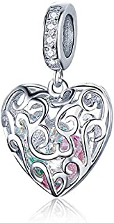 JOEMOD Heart Pendant 925 Sterling Silver Romance Love Heart Charms Fit Bracelets & Bangles Wedding Gift Jewelry