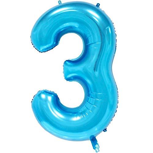DIWULI, XXL aantal ballonnen, nummer 3, Ijsblauwe ballonnen, aantal ballonnen, folieballonnen aantal jaren, folieballonnen blauw voor 3de verjaardag, bruiloft, feest, decoratie, geschenkdecoratie
