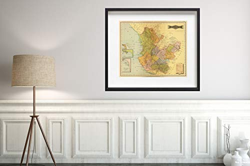 1886 Map|Jalisco|Vintage Fine Art Reproduction|Size: 20x24|Ready to Frame