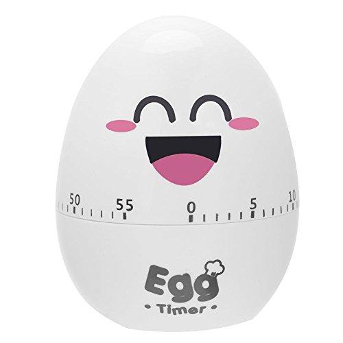 Temporizador manual de huevo de dibujos animados, alarma de plástico, herramienta de temporizador de cocina, alarma mecánica de 55 minutos(Blanco)