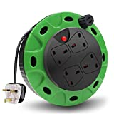 ExtraStar 13A 4 Sockets Cable Reel Extension Lead with Winding Handle, 1100W/3120W Thermal Cut-Out Protection UK Extension Reel with 5 Metres Extension Cable - Green